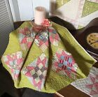Antique Vintage Old Early Chrome Yellow Nine Patch Patchwork Quilt Piece #1