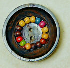 Incredible Antique~ Vtg BUTTON Carved Wood with Tiny Colored Wood Beads L@@K# 20