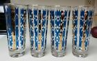 4 LIBBEY Blue GOLD stripe geometric MCM skyball Tom Collins glasses 7