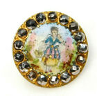 Vibrant Antique BUTTON EMAUX PEINTS Hand Painted Enamel Girl w/Cut Steel L@@K#38