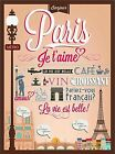 Bonjour Paris France Je taime Retro Travel Advertisement Art Poster Print