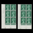 Great Britain 1968 MNH 7d Bright Emerald cylinder 4 and 4 blocks