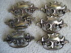 6 Vintage metal  chippendale-style dresser chest drawer hardware pulls
