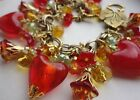 Lady n Red Statement Bracelet Red Glass Hearts Crystal Charms M Haskell Chain
