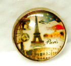 SUPER VINTAGE Picture BUTTON Color print of Eiffel Tower under Glass L@@K#160