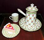Antique Limoges Porcelain Hand Painted Espresso Teapot with Demitasse Set