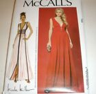 Mccalls Pattern Misses Formal Prom Evening Dress Gown Deep V 6-14 Or 14-22