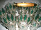 Pilsner- Mid Century 8 glasses -carrier- teal diamond-gold trim- Atomic-glass se