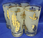 G. Reeves Mid Century Frosted Gold Leaf Leaves TUMBLERS Glasses - Set  4 VINTAGE