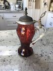 Antique Or Vintage Blown Art Glass Water Wine Pitcher w/attached Pewter Lid
