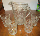 ANCHOR HOCKING GLASS PITCHER AND 4 DRINKING GLASSES STAR OF DAVID EAPC CLEAR
