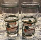 LOT OF 2 LIBBEY MALLARD HIGHBALL GLASSES WITH GOLD TRIM UNUSED COND