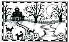 Halloween Haunted House Cats Wood Mounted Rubber Stamp NORTHWOODS NN10463 New