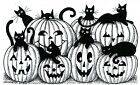 Halloween Cats Jack O Lanterns Wood Mounted Rubber Stamp NORTHWOODS NN10471 New