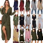 Womens Long Sleeve Maxi Dress Ladies Loose Casual Long Tops Blouse Shirt Dresses