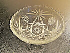 Vintage Clear Glass Scalloped / Serrated Edge Ornate Candy Nut Mint Serving Bowl
