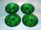 4 Anchor Hocking Forest Green Oyster and Pearl Bubble Berry Bowls