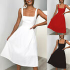 New Womens Holiday Strappy A Line Ladies Summer Beach Midi Swing Party Sun Dress