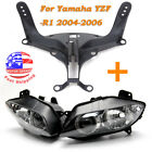 Headlight Lamp Assembly+Stay Fairing Bracket For R1 Yamaha YZF-R1 2004 2006 2005