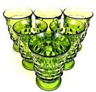 Indiana Glass Whitehall Footed Juice Glasses Avocado 5-ounce 1950s Set of 6 VG