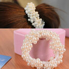 Women Girls Beaded Hair Ring Rubber Band Head Rope Black Gold Hair Accessories