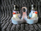 VINTAGE LUSTREWARE SALT  PEPPER SHAKERS TOP HAT PENGUINS W TRAY MADE IN JAPAN