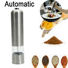 Electric Salt Pepper Mills Grinders Silver Battery Operated With Light