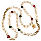 Ciner Necklace 42 Long Red Green Glass Faux Pearl Sautoir Gold Plated VTG Chic