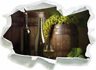 Barrels with Grapes and Wine 3d Look Paper Wall Tattoo Stickers