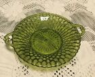 Vintage Dish Bowl w/ 2 Handles Green Glass Scalloped Edge Indiana Glass