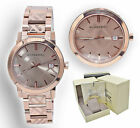 Burberry Watch Women BU9039 RoseGold Check Stamp Stainless Steel Link Band 38MM