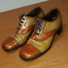Vintage 70s Sears Brown/Tan Chunky Heel Leather Platform Disco Shoes Mens 10 D