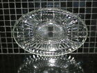 Vintage 5 Sections Oval Clear Thick Cut Glass Relish Dish Plate Server