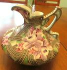 Beautiful Rare Antique Nippon Moriage Pitcher Raised Beaded Scroll and Flowers