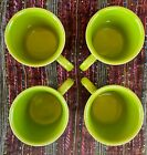 Fiestaware Set of 4 Chartreuse Coffee Cups with Ring Handle, EXCELLENT Condition