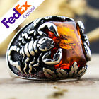 Turkish Handmade 925 Sterling Silver Amber Stone Scorpion Mens Ring All Sizes