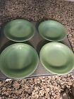 Vintage Set of 4 FIRE KING JADEITE Soup Bowls 7.5 inch  Jane Ray ribbed pattern