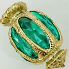 Vintage Christmas Light Cover Faceted Emerald Green Gold 3 Reflector Ornament
