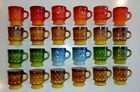 24 Fire King COLORED KIMBERLY DIAMOND POINT PATTERNED Stacking Mugs MINTY