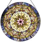 Stained Glass Chloe Lighting Edwardian Window Panel 22 Inches Handcrafted New