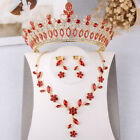 Vintage Red Crystal Crown Tiara Necklace Earring Prom Wedding Bridal Jewelry Set