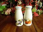 USED 2 LARGE SALT  PEPPER SHAKERS MIX FRUIT DESIGN 5 3 4H NO PLUGS