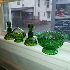 Antique Green Moon And Star Depression Glass Bowl, Candle Holders And Candy Dish