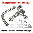 For Jeep Wrangler TJ 1997 99 25L L4 Stainless Manifold Header w Downpipe New