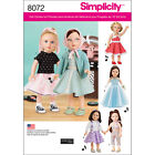 SIMPLICITY VINTAGE INSPIRED 18 DOLL CLOTHES ONE SIZE