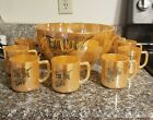 Vintage Fire King Peach Lustre Egg Nog Punch Bowl Set, 11 Pieces 10 Cups