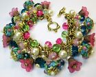 Glass Charm Bracelet Floral Crystal Peacock Blue on Vintage Miriam Haskell Chain