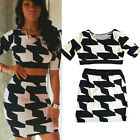 Women Two Piece Backless Crop Top Short Mini Dress Set Hollow Out Outfits Party