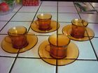 Set of 4 Vintage French Duralex Demitasse amber colored Glass Cups and Saucers