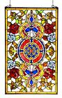 Stained Glass Chloe Lighting Victorian Red And Blue Roses Window Panel 20 X 32
